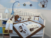 SoHo Blue and Brown Rock Band Baby Crib Nursery Bedding Set 13 pcs included Nappy Bag with Changing Pad & Bottle Case
