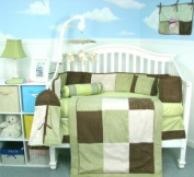 Soho Sage & Brown Suede 10 pcs Baby Crib Bedding Set