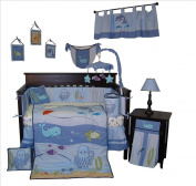Custom Baby Bedding - Under The Sea 14 PCS Boy Crib baby Nursery Bedding Set Include Music Mobile