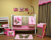 Bacati Butterflies Pink/chocolate 10 Pc Crib Set Without Bumperpad