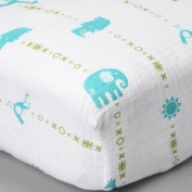 Jungle Teal Muslin Crib Sheet - Organic Cotton