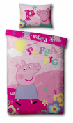 Peppa Pig 'Adorable' Panel Single Bed Duvet Quilt Cover Set