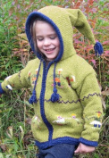 Green-Yellow Child's Pointy Hooded Sweater with People Holding Hands Design, Infant Size