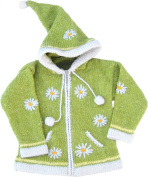 Yellow Green Child's Sweater with Pointy Hood, Infant Size