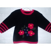 Hand Made Knit Wool Sweater in Flower Design for Girls