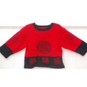 "Hand Made Knit Wool Sweater with ""Fu"" Good Luck for Girls"