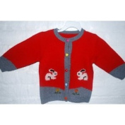 Hand Made Knit Wool Sweater with two Cats for Girls in Red