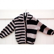 Hand Made Knit Wool Sweater in Pink Strip Design with Hoody for Girls