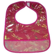 I Frogee Brocade Baby Bibs in Dark Red Dragonfly Print