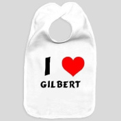 Baby bib with I Love Gilbert