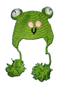 """FROG Crochet Baby Sock Hat in Green colour 0-2 Year - Hand Made with NEW Milk protein cotton yarn by """"BubuBibi"""""""
