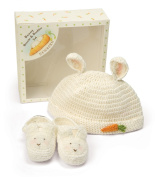 Bunnies by the Bay 0-3 Months Bunny Beanie and Bootie Gift Set, Cream