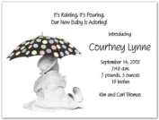 It's Raining Baby Birth Announcements - Set of 20