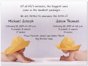 Rainhat Babies Twins Birth Announcements - Set of 20