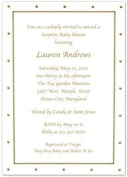 Gold Foil Dotted Border Baby Shower Invitations - Set of 20