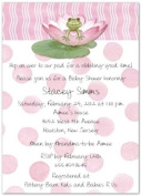 Lily Pad on Pink Baby Shower Invitations - Set of 20