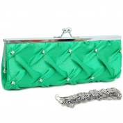 Dasein Kiss Lock Pleated Front Clutch w/ Rhinestone -Green