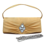 Dasein Flap Over Front Clutch w/ Diamond Shape Rhinestone Accent -Gold