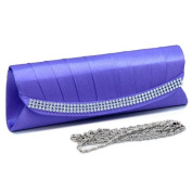 Dasein Pleated Flap Over Front Clutch w/ Rhinestone Trim -Purple