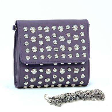 Dasein Dasein Studded Soft Clutch Crossbody Bag w/ Detachable Strap -Purple