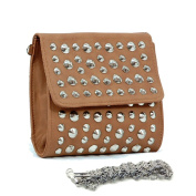 Dasein Dasein Studded Soft Clutch Crossbody Bag w/ Detachable Strap -Brown