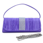 Dasein Rhinestone Accented Pleated Front Flap Clutch -Purple