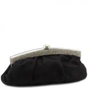 Jessica McClintock J4002333 Pleated Satin Rhinestone Clutch - Black