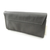 "Leather clutch bag ""Frandi"" satin gray (2 bellows)."