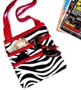 Zebra Red Trim Shoulder Bag Purse Crossbody - Large