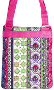 Patchwork Print with Hot Pink Trim Small Hipster Cross Body Shoulder Bag Purse Handbag
