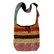 Shinning Silk Sari Sequined Beaded Hippie Hobo Sling Crossbody Messanger Patch Bag India