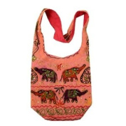 Pink Cotton Multi Elephants Embroidery Bohemian / Hippie Sling Crossbody Bag India