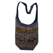 Purple Cotton Multi Elephants Patch Bohemian / Hippie Sling Crossbody Bag India