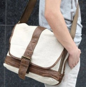 Natural White Linen Duffel Bag with leather Strap & Accents