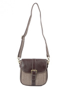 Ivory Tag Brown Leather & Houndstooth Crossbody Bag