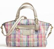 100% Authentic Coach Daisy Madras Large Satchel Convertible Crossbody Purse Bag 23389