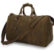 """Lyon"" Distressed Full Grain Leather Duffel Carryall Bag"