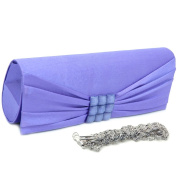 Dasein Pleated Flap Over Front Clutch Evening Purse w/ Rhinestone -Purple