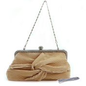 Dasein Pleated Twist Knot Evening Bag w/ Rhinestone Trim -Gold