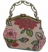 A Beaded Pink Flower and Tint Silver Base Evening Handbag with Long Chain. Best Gift Ideal in the Holiday Season. Unique ! -- #3