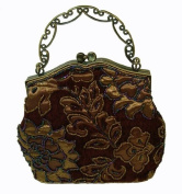 A SaddleBrown Base Evening Handbag W/chain, Cover By Beaded Golden Yellow Flower and Leaves, a Lovely Evening Purse --- #4