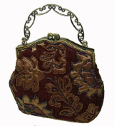A SaddleBrown Base Evening Handbag W/chain, Cover By Beaded Golden Yellow Flower and Leaves, a Lovely Evening Purse --- #3