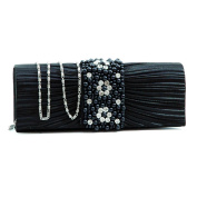 Dasein Pleated Evening Bag Clutch w/ Rhinestone & Pearl Accented Flap -Black