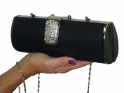 ICE (2361) textured metalic diamante chunky clasp clutch bag evening black