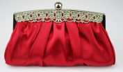 Ladies Red Diamante Satin Party Clutch Evening Bag KCMODE