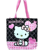 Tote Bag - Hello Kitty - Black Heart Checker New Gifts Girls Hand Purse 81587