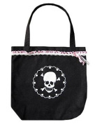 ECSTAR WOMENS SKULL DOILY TOTE BLACK W/ BLUE/WHITE LACE
