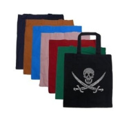 "Small Burnt Orange Pirate Tote Bag - Created using a legendary pirate song ""15 men on the dead mans chest.. yo ho ho and a bottle of rum.."""