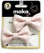 Leather on Fabric Bow Basic Bobby Pins Light Pink X2