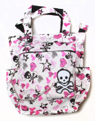 Clover Tote Chain Style Hand Bag - White, Pirate Skull and Sketched Hearts and Stars